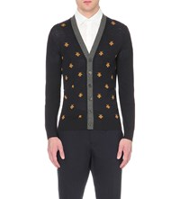Gucci Bee Embroidered Wool Cardigan Navy Yellow