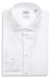 Armani Collezioni Men's Big And Tall Modern Fit Stretch Solid Dress Shirt Solid White