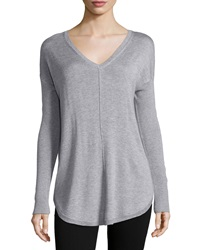 Neiman Marcus V Neck Shirttail Hem Dolman Sweater Mist Gray