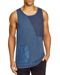 Blood Brother Patchwork Cotton Tank Navy