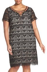 Plus Size Women's Sangria Embellished Neck Lace Sheath Dress