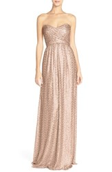 Amsale Women's 'London' Sequin Tulle Strapless Column Gown Latte