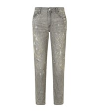 Polo Ralph Lauren Astor Paint Splatter Boyfriend Jeans Female Grey