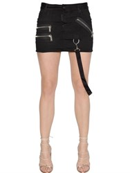 Dsquared Zip Details Cotton Denim Mini Skirt