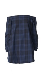 Tibi Plaid Off The Shoulder Tunic