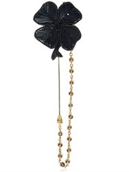 Dolce And Gabbana Embellished Clover Pin With Chain