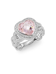 Judith Ripka Fontaine Heart Shaped Sterling Silver Ring Silver Pink