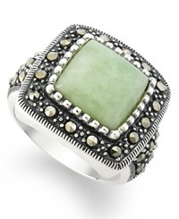 Genevieve And Grace Sterling Silver Ring Jade Square Ring 5 1 3 Ct. T.W.
