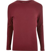 River Island Mens Red Ribbed Long Sleeve T Shirt