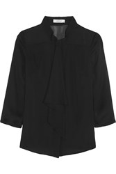 Milly Pussy Bow Silk And Silk Blend Chiffon Blouse Black