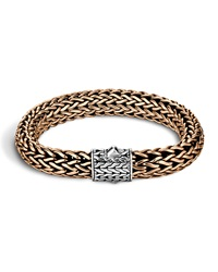 Men's Two Tone Woven Chain Bracelet Silver Bronze John Hardy