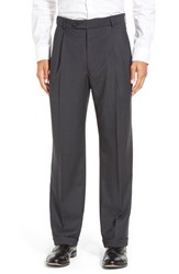 Men's Ballin Pleated Solid Wool Trousers Charcoal
