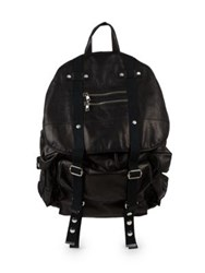 Balmain Leather Satchel Backpack Black