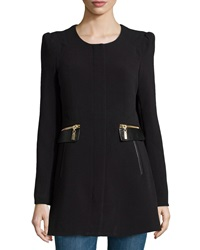 Raison D'etre Lady Textured Knit Faux Leather Trimmed Coat Black