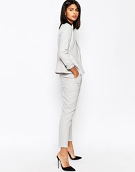 Asos Linen Cigarette Trousers With Belt Silver Grey