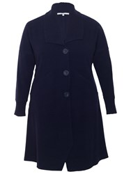 Chesca Ribbed Collar Wool Coat Navy