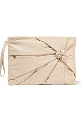 Red Valentino Redvalentino Appliqued Leather Clutch Beige