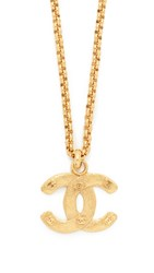 Wgaca Chanel Rough Cc Necklace Previously Owned Gold
