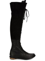 Valas Thigh High Lace Up Boots Black