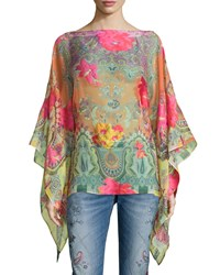 Long Sleeve Coral Rose Poncho Multi Women's Multi Colors Etro