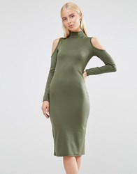 Club L Cold Shoulder Bodycon Dress With Zip Detail Khaki Green