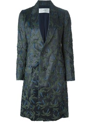 Julien David Palm Tree Jacquard Coat Blue