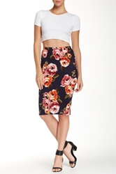 14Th And Union Crepe Printed Tube Skirt Blue