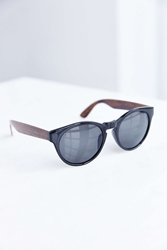 Urban Outfitters Wooden Temple Round Sunglasses Black Multi