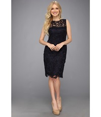 Adrianna Papell Illusion Neck Lace Dress Navy Women's Dress