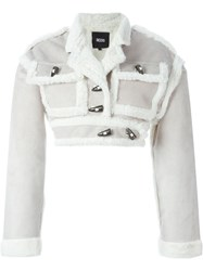 Ktz Shearling Cropped Jacket Nude And Neutrals