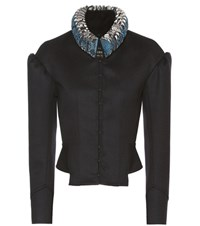 Burberry Wool Military Jacket With Ruffled Snakeskin Collar Blue