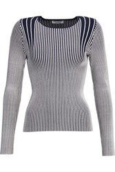 Opening Ceremony Ribbed Stretch Knit Top Storm Blue
