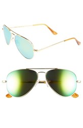 Men's Randolph Engineering 'Concorde Flash' 57Mm Aviator Sunglasses 23K Gold Green Flash Pc
