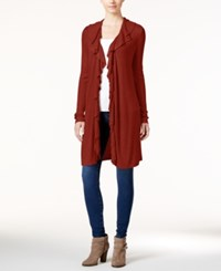 Inc International Concepts Ruffled Cardigan Only At Macy's Burnt Pepper