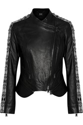 Haute Hippie Convertible Bead Embellished Leather Jacket Black