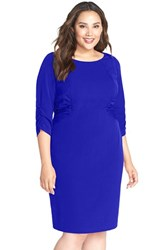 Plus Size Women's Adrianna Papell Side Ruched Crepe Sheath Dress Iris