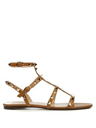 Valentino Rockstud Flat Leather Sandals Tan
