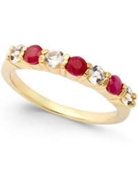 Victoria Townsend Ruby 3 8 Ct. T.W. And White Topaz 3 8 Ct. T.W. Ring In 18K Gold Over Sterling Silver Yellow Gold