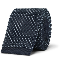 Dunhill Knitted Silk Tie Blue