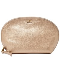 Fossil Gifting Leather Cosmetics Bag Pale Rose Metallic