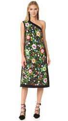 Victoria Beckham Embroidered Panel Midi Dress Embroidered Flower Black Multi
