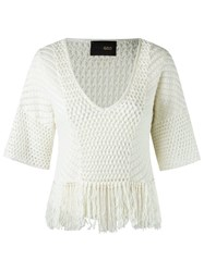 Andrea Bogosian V Neck Knit Blouse White