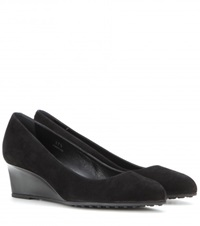 Tod's Gomma Suede Wedge Pumps Black