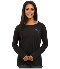 Puma Elevated Long Sleeve Top Black Women's Long Sleeve Pullover