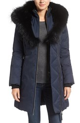 Mackage Women's Down Parka With Genuine Fox Fur Trim Navy