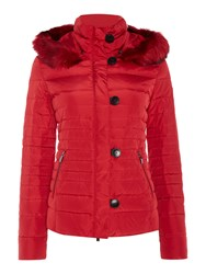 Armani Jeans Short Padded Jacket With Removable Hood Red