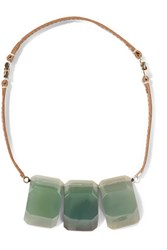 Marni Leather And Stone Necklace Gray Green