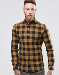 Asos Skinny Buffalo Shirt In Camel With Long Sleeves Camel Tan