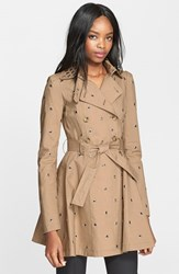 Women's Red Valentino Grommet Detail Double Breasted Flared Trench Coat