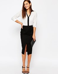 Asos Linen Pencil Skirt With Pocket Detail Black
